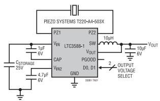 专为诸如压电传感器等高阻抗源而优化的完整能量收集解决方案