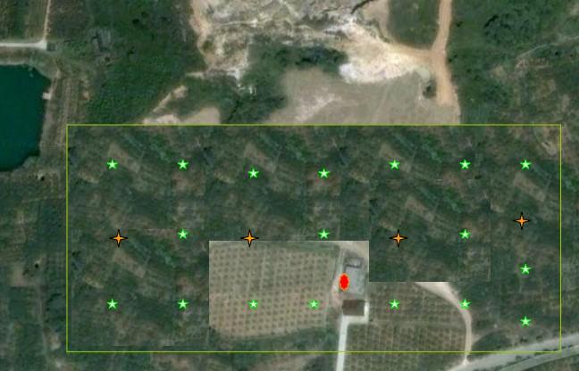 无锡阳山有机水蜜桃基地物联网节点部署示意图