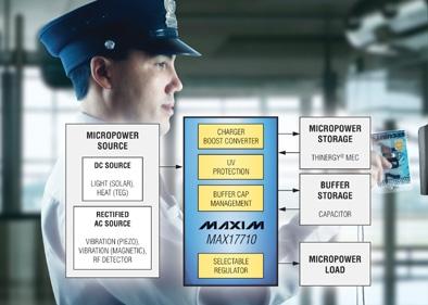超薄型MAX17710能够收集1μW至100mW微功率能源