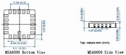 msa6000系列微加速度计结构尺寸