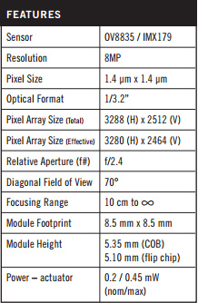 Nexus 5摄像头特征(基于MEMS技术)