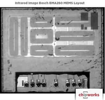 Bosch BMA280加速度计的MEMS Layout