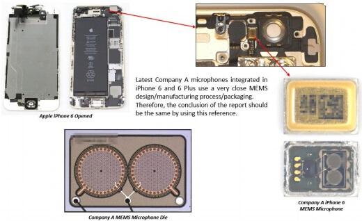 苹果iPhone 6中的MEMS麦克风