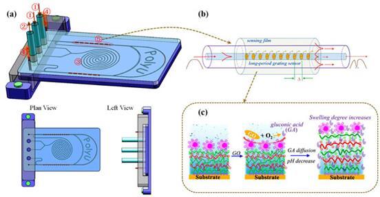 光纖生物傳感器集成微流控芯片的設計示意圖