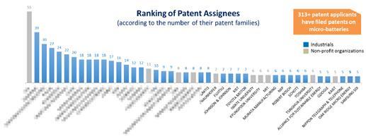 全球微型电池领域专利主要申请人排名