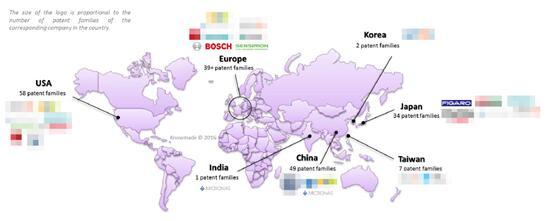 微型CMOS / MOS / MIS气体传感器全球主要申请人区域分布