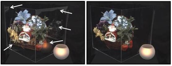采用新型CMOS图像传感器的样片(右图)则消除了反射