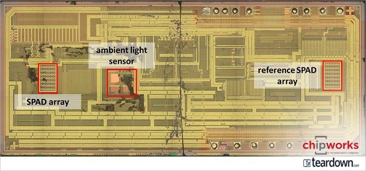 VL6180实际上有两个芯片上SPAD数组,以及环境光传感器