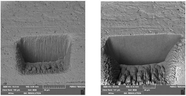 左图为未使用XeF2时离子束切割后的截面流水效应,右图使用XeF2辅助刻蚀,切割后表面就比较平整