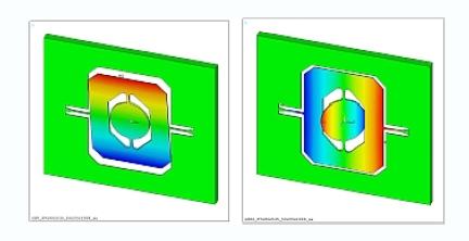 扭矩的一个分量使常平架绕其挠曲悬架旋转(左);另一个分量则激发扫描镜谐振模式的振动,使反射镜绕常平架的挠曲悬架旋转(右)