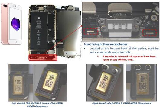iPhone 7 Plus前置底部MEMS麦克风由楼氏电子和歌尔股份提供
