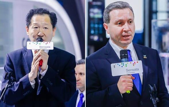 森萨塔科技全球高级副总裁,全球执委会成员,亚太区总裁常旌(图左)、Quanergy CEO兼联合创始人Louay Eldada(图右)