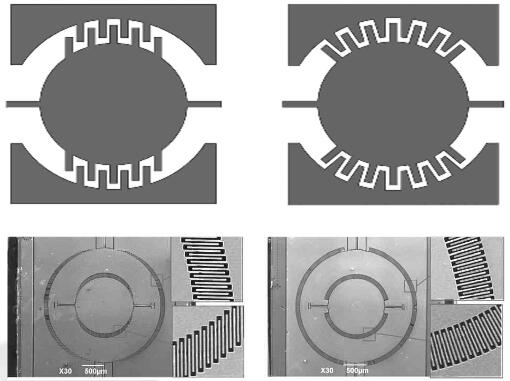 西北工业大学研制的MEMS微镜(左:平行分布梳齿;右:发散分布梳齿)
