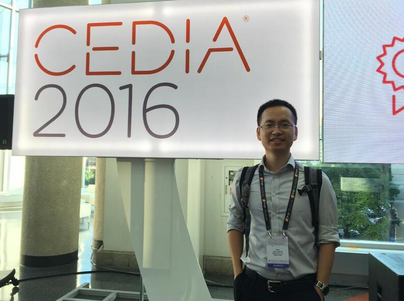 2016年,杨文鑫参加CEDIA(自定义电子设计及安装协会)展会