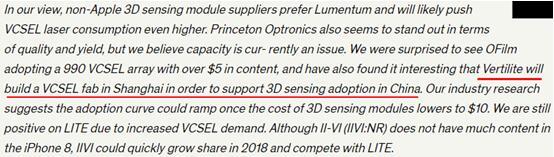 在道琼斯公司发布的Barron关于3D传感行业调查中介绍了四家支持3D传感应用的VCSEL厂家,纵慧光电就是其中之一