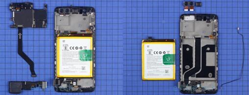 一加5智能手机主板通过十字螺丝固定,主板正反面都贴有石墨片