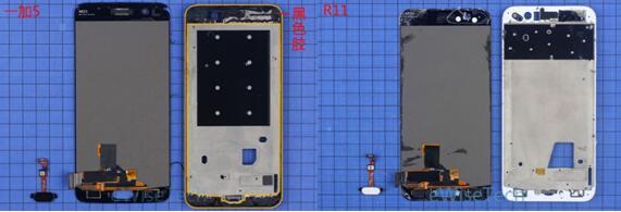 一加5智能手机屏幕的固定方式和R11相似,通过黑色胶固定,指纹识别通过胶粘贴固定在保护玻璃上
