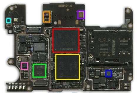 一加5智能手机主板正面主要IC