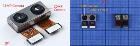 一加5智能手机后置双摄像头CMOS图像传感器使用的是Sony的IMX398(1600万像素)和Sony的IMX350(2000万像素)