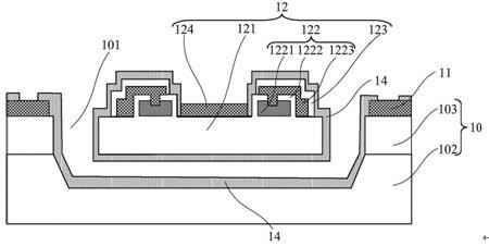 旁热式微传感器结构示意图