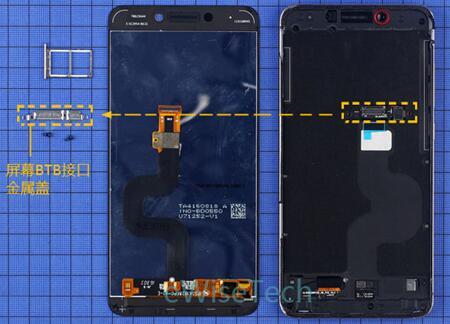 加热屏幕后,用吸盘打开屏幕。打开屏幕后可以看到屏幕上下两端涂有胶条