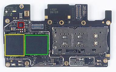 oppo a77智能手机主板正面主要ic