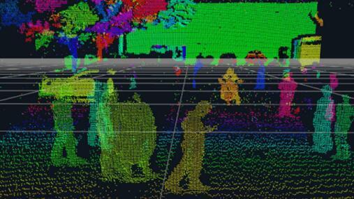 AEye公司探测距离300米、覆盖360°范围的150信道智能LiDAR获得的单帧高密度点云图
