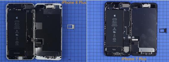 iPhone 8 Plus智能手机从屏幕开始拆解,打开后可以看到其内部构造和上一代的7 Plus差别不大