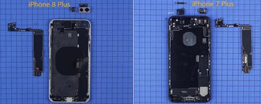 取下iPhone 8 Plus主板后可见其主板形状和7Plus大致相同,不同之处可能就是那颗处理器的升级