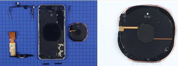 iPhone 8 Plus后盖中央贴有一块无线充电线圈