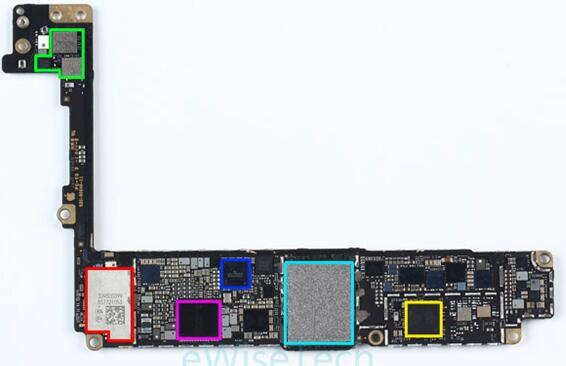 iPhone 8 Plus智能手机主板正面主要IC