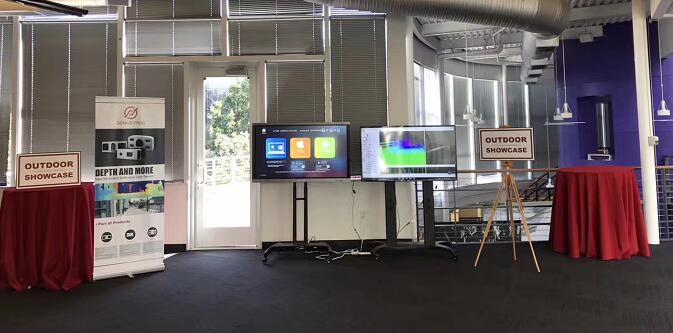 光珀智能新品发布会外面的激光雷达产品体验区