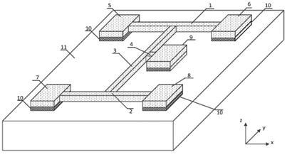 本发明的工字型谐振式应变传感器结构的立体示意图