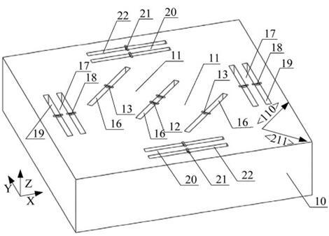 单芯片硅集成三轴高频宽高冲击加速度计的三维结构示意图