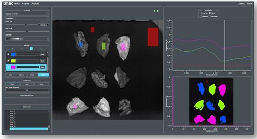 在SWIR波段使用Imec的1.1~1.7 µm波段内LS 100+光谱带的高光谱成像,可将坚果与坚果壳进行分类