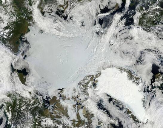 这张2011年的复合卫星图像展现了北极海冰(中)和格陵兰冰原(右下)的景象