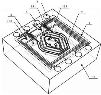 加速度计内嵌压力传感器的单硅片复合传感器结构的三维结构示意图