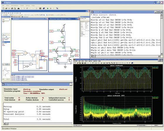 Tanner T-Spice仿真器用户界面显示了原理图、模型网表、仿真日志和波形数据