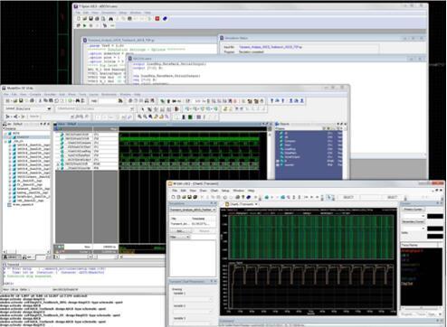 Tanner T-Spice仿真器用户界面,包括原理图编辑器、Spice网表、仿真日志以及波形数据