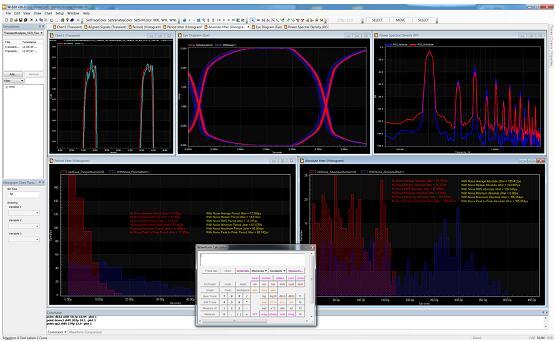 Tanner Waveform Viewer(波形查看器)界面显示了在没有瞬态噪声的情况下ring VCO的输出波形;该工具拥有多窗口、多图表界面,易于查看波形和数据