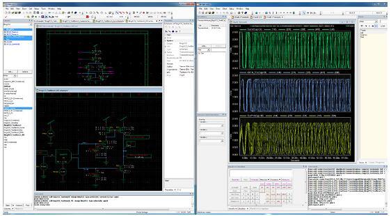 Tanner Waveform Viewer可以从Tanner S-Edit编辑器中访问仿真结果;从Tanner S-Edit编辑器中显示ring VCO瞬态分析结果