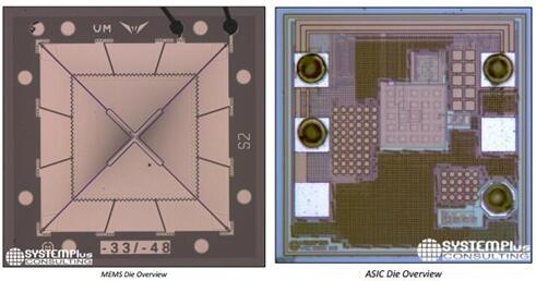 vesper推出的型号为vm1000的mems芯片(左)及asic(右)