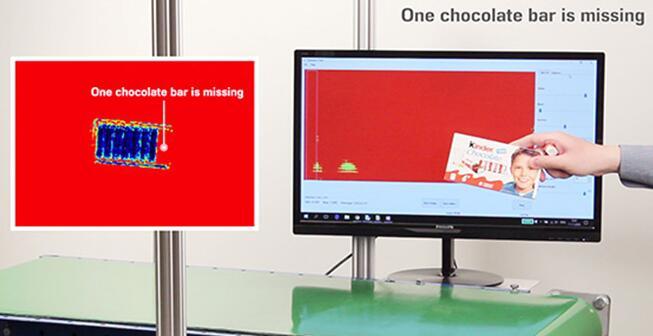 太赫兹(THz)成像系统检测巧克力数量,发现少了一支巧克力棒(如左图)