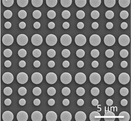 图为本研究制造透镜的扫描电子显微镜图像,显示了盘状的超表面晶胞(metasurface unit cells)
