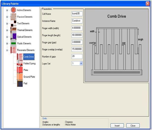 利用Library Palette装配谐振器以获得版图