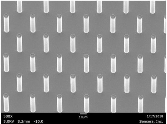 微柱放大500倍后的扫描电子显微镜(SEM)图片