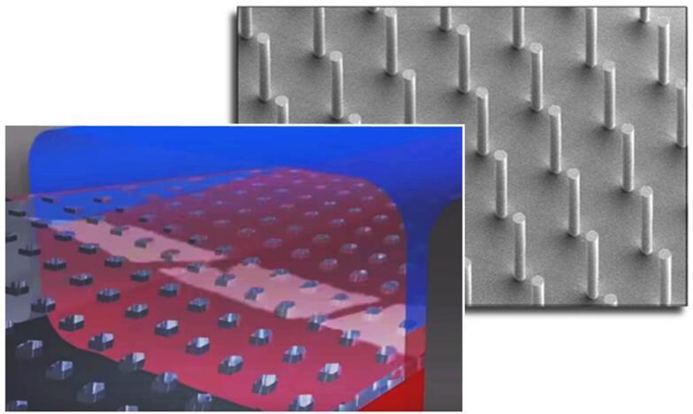 管芯上的微柱在聚合物膜中形成了对应的孔