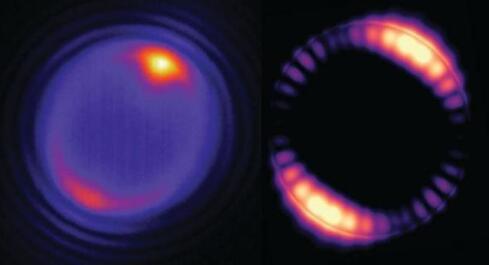 图左:由激光照射的微球(在图像顶部显示的黄色斑点)产生循环于微球内部(粉红色的环)的光模态;图右:模拟了5μm微球内部光场的分布情况