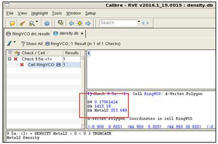 密度报告显示计算出的密度值(DV)、窗口面积(DA)和金属密度(DA Metal2)
