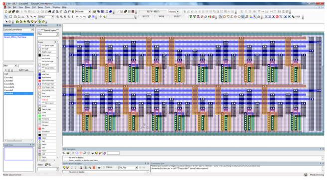 L-Edit图形界面显示了Cascode镜像版图中对一个节点的高亮显示